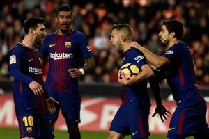 FCBarcelona earned a 5-0 win over Real Murcia in the Copa del Rey, also known as the King's Cup.