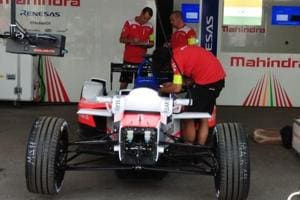 Mahindra's new M4Electro car pictured at the pits.