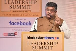 Union IT minister Ravi Shankar Prasad addresses the Hindustan Times Leadership Summit in New Delhi on Friday.