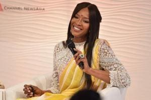 Naomi Campbell, supermodel, actress and social activist, at the Hindustan Times Leadership Summit in New Delhi on Friday.