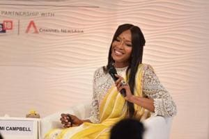 Naomi Campbell during the Hindustan Times Leadership Summit in New Delhi on December 1.