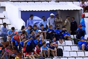 Korea men's hockey team, which reached Bhubaneswar -- the venue for the Hockey World League Final -- at the stands during a match on Friday.