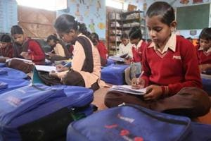 Students at a government school in Alwar that remains open 365 days a year.