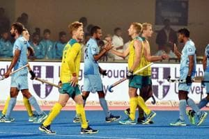 India and Australian players greet each other after 1-1 draw at the Men