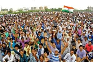 Patidars gather at a rally to press for their demands of reservation, in Ahmedabad.
