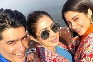 Sridevi joins daughter Janhvi Kapoor at her Dhadak shoot in Udaipur....