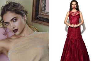 Deepika Padukone sports wine-coloured lips for an ad campaign. A model in a wine-coloured gown.