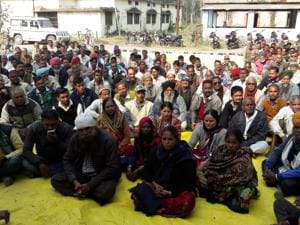 Farmers and employees of the Sitarganj Sugar mill on Sunday protesting against the Trivendra Singh Rawat cabinet  decision to run the mill on a public private partnership model.