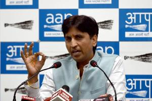 Aam Aadmi Party leader Kumar Vishwas addressing  a press conference  at AAP office in New Delhi today.