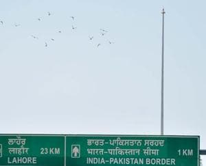 The 360-ft pole meant for the Tricolour near the Attari-Wagah border.