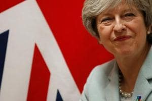 Britain's Prime Minister Theresa May attends a bilateral meeting during the Eastern Partnership summit at the European Council Headquarters in Brussels.