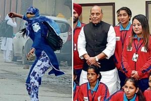 Kashmiri woman footballer in viral protest photo meets Rajnath Singh