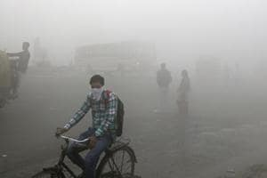 A thick blanket of smog on the outskirts of New Delhi.