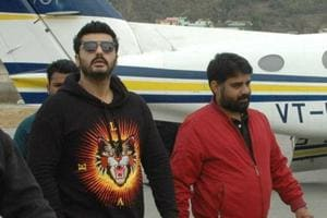 Actor Arjun Kapoor with other crew members in Pithoragarh.