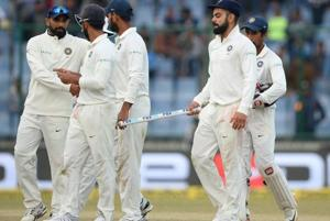 Indian players leave the field after the draw in the third Test against Sri Lanka at the Feroz Shah Kotla. Catch highlights of 3rd Test day 5 between India vs Sri Lanka here.