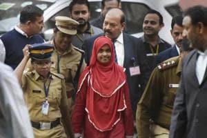 Twenty-four-year-old Hadiya  (in red) at the Supreme Court, New Delhi, India, November 27, 2017
