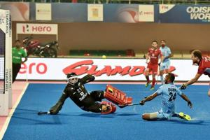 Indian men's hockey team player SVSunil (24) attempts to score against Belgium during the second quarter of their quarterfinal match of the FIHHockey World league Final at Kalinga Stadium in Bhubaneswar on Wednesday. Get highlights of the FIH Hockey World League Final, India vs Belgium quarterfinal here.