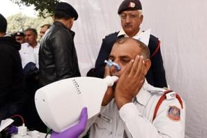 Photos: Long hours, smog take a toll on Delhi Traffic Police, tests...