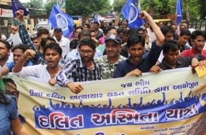 File photo of dalits shouting slogans during a protest march from Ahmedabad to Una where four from the community were brutally beaten by alleged vigilantes for skinning a dead cow in Ahmedabad, in August 2016.