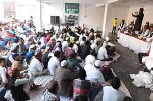 Muslims participating in a meeting to mark Yaum-e-Gham(day of sorrow) in Ayodhya.