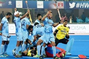 Indian hockey team players celebrate after beating Belgium in shootout during the FIH Hockey World League Final (HWLF) at Kalinga Stadium in Bhubaneswar on Wednesday.