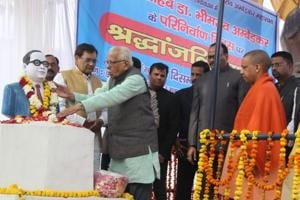 Uttar Pradesh governor Ram Naik paying tribute to Dr BR Ambedkar on his death anniversary in Lucknow on Wednesday.