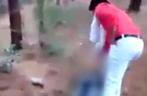 A screengrab from a WhatsApp clip showing Shambu Lal Regar killing Afrazul in Rajasthan's Rajsamand district on Wednesday.