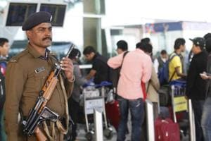 CISF Personnel alert at 1D Domestic Airport in New Delhi, India, on Sunday, January 4, 2015.