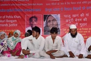 Alwar lynching victim Pehlu Khan's mother Ankuri Beegam and other family members demand justice for him, at Jantar Mantar in New Delhi on April 19, 2017.