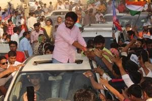 File photo of Patidar quota agitation leader Hardik Patel at a rally in Botad in October.  The Patidar vote will be decisive in nearly 20 of the 89 assembly seats going to polls in the first phase on Saturday.