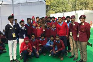 Schoolchildren from Sanghol village in Fatehgarh Sahib district and NCC cadets with Naib Subedar Sanjay Kumar, a Param Vir Chakra awardee, after an interaction at the Military Literature Festival in Chandigarh on Saturday.