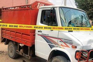The vehicle of the alleged cow smuggler seized after the shootout in Alwar.