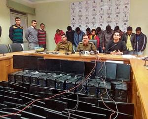 Police seized a huge cache of IT equipment and mobile phones used for running the fake job racket