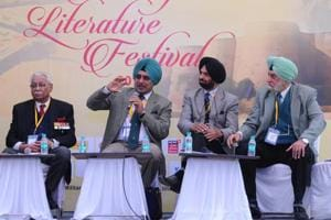 (From left) Vir Sanghvi moderating a session at the Military Literature Festival at Lake club in Chandigarh on Friday.