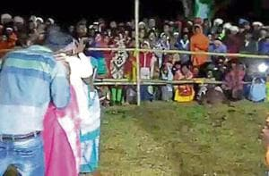 Couples engaged in liplock at Dumaria village in Pakur district.