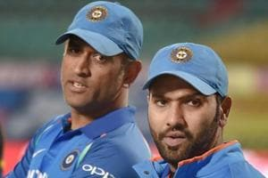 Rohit Sharma (R) and MS Dhoni after India's loss against Sri Lanka in the first ODI in Dharamsala.