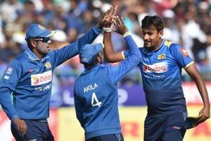 Suranga Lakmal's (R) splendid spell helped Sri Lanka crush India by 7 wickets in the first ODI in Dharamsala. Get highlights of India vs Sri Lanka here