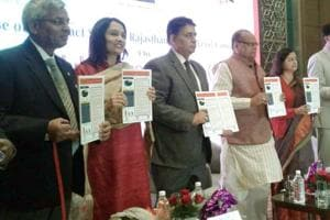 Rajasthan health minister Kali Charan Saraf, economic adviser to the ministry of health and family welfare Arun Kumar Jha, principal secretary, health, Veenu Gupta, health secretary and National Health Mission chief Naveen Jain, and World Health Organisation's Vineet Munish Gil released in Jaipur on Monday data on Rajasthan found in Global Adult Tobacco Survey (GATS 2) 2016-17.