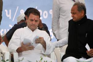 Congress president-elect Rahul Gandhi at an election campaign rally in Anjar, Kutch district, Gujarat, on December 5, 2017.