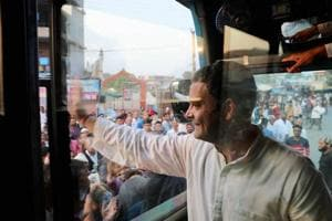 Congress vice-president Rahul Gandhi waves to supporters in Kheda district, Gujarat, on Friday while campaigning for the state assembly polls onSaturday.