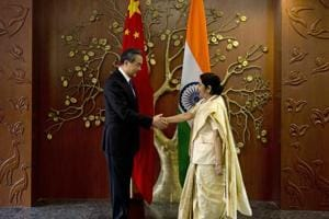 Sushma Swaraj holds talks with Chinese counterpart Wang Yi