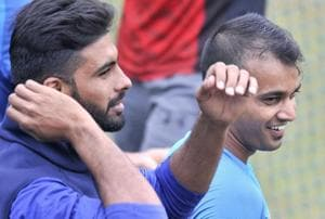Barinder Sran gets ready to bowl at the Indian cricket team nets in Mohali on Tuesday, a day before the second ODI against Sri Lanka cricket team.