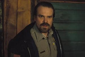 This image released by Netflix shows David Harbour in a scene from Stranger Things.