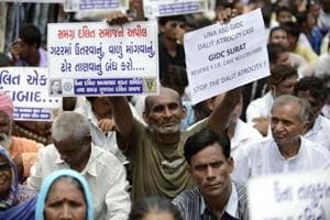 People attend a protest rally over the attack against Dalits in Una, in Ahmedabad on July 31, 2016.