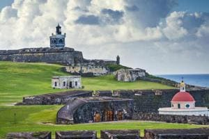 The historic Fort San Felipe Del Morro in San Juan. Puerto Rico's once-devastated power grid is now back up to 70% capacity, but this is mainly concentrated in the capital San Juan.
