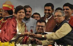Several Uttar Pradesh ministers and BJP leaders participated in the swearing-in ceremony of the party's 14 mayors, who won on BJP ticket in the recently concluded civic elections in Uttar Pradesh.