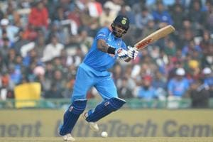 Shikhar Dhawan in action during the second ODI between India and Sri Lanka in Mohali.
