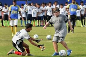 Diego Maradona enthralls young Indian footballers with magical skill