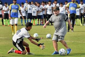 Diego Maradona ran a football clinic for kids at the Aditya School of...