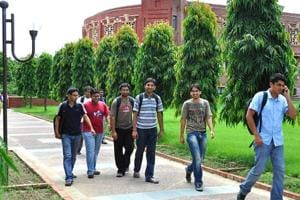 Students on the campus of Indian Institute of Management, Lucknow.